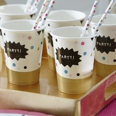 CONFETTI PARTY Pk 8 Paper Cups - Gold Pink Blue Party TABLEWARE Adult Birthday