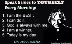 Inspirational Quotes by APJ Abdul Kalam for Students Apj Quotes, Wisdom Quotes, True Quotes, Words Quotes, Sayings, Quotable Quotes, Spiritual Quotes, Life Lesson Quotes, Real Life Quotes