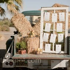 Real Weddings - A Farm Wedding in Winters, CA - Rustic Seating Chart Display