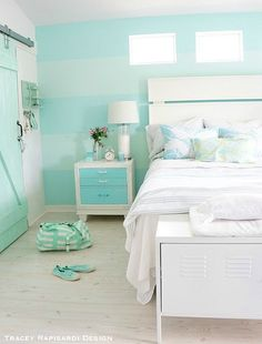 Still gushing, I want this beach house! Aqua, mint- that wall is almost identical to my logo ;0) Pastel Blue Cottage Bedroom