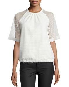 Sheer-Sleeve Textured Pullover, Ivory
