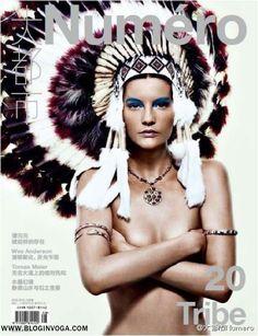 A modelo rosto da Acne Womenswear Primavera 2012, Sara Blomqvist, é a estrela da capa da revista Numéro China Agosto 2012.