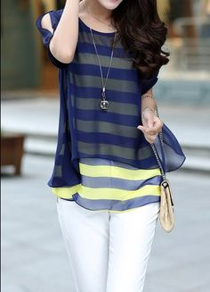 $9.11 Elegant Women's Scoop Neck Short Sleeve Striped Faux Twinset Design Chiffon Blouse