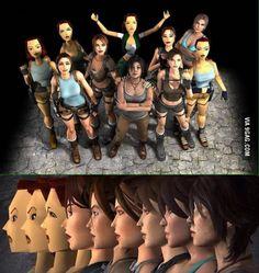 Lara Croft over the years Tomb Raider Cosplay, Tomb Raider Lara Croft, Lara Croft Evolution, Lara Croft Angelina Jolie, Evolution Of Video Games, Laura Croft, Sherlock Doctor Who, Rise Of The Tomb, Princess Mononoke