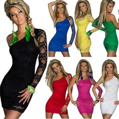 Dmart7deal 7 Colors Sexy Nightclub Dresses Summer Sexy Women's Party Evening Lace One Shoulder Mini Dress Plus Size !!!!TAG A FRIEND>>SHARE OUR POST>>LIKE IT>>SHOP NOW!!at.dmart7deal.com