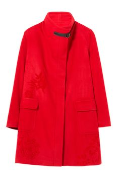Meraviglioso cappotto di lana rosso Desigual con maxi tasche e dettagli floreali.