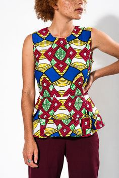 Charity Peplum Top in Afro Beat