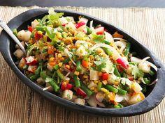 Charred Corn, Radish, Jicama, and Green Bean Salad with Lime Dressing