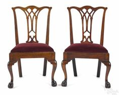 Pair Of Pennsylvania Chippendale Mahogany Dining Chairs, Ca. With Pierced  Splats And Ball And Claw Feet. Provenance: Descended In The Family Of Chi