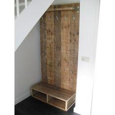 Steigerhouten Kapstok staand Pallet Building, Hall Stand, Plank Walls, Stair Storage, Timber Wood, Bath Remodel, Home Decor Accessories, Decoration, Diy Furniture