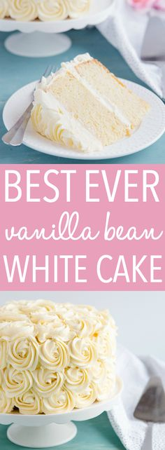This Best Ever Vanilla Bean White Cake is one of the best birthday cake recipes I've ever made. Tender vanilla cake with fluffy frosting, made with real vanilla beans!Recipe from thebusybaker.ca! #cake #birthday #vanilla #white #whitecake #wedding #bridesmaid #bridalshower #babyshower #rosette #roses #recipe #homemade via @busybakerblog