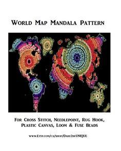 World Map Mandala Cross Stitch PATTERN, Rug Hooking, Plastic Canvas + Needlepoint Tapestry + Crochet Patterns, Digital Printable Pdf, Maps by on Etsy Tapestry Crochet Patterns, Rug Hooking Patterns, Mandala Pattern, Pattern Art, Cross Stitch Needles, Cross Stitch Patterns, World Map Printable, Simple Prints, Fuse Beads