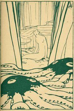 Duilio Cambellotti La siepe di smeraldo (The hedge of emerald) 1920 Art Inspo, Kunst Inspo, Art And Illustration, Illustrations, Bel Art, Art Du Collage, Jugendstil Design, Funky Art, Art Hoe