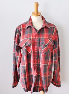 Vtg 80s Woodland red Plaid flannel Shirt men L punk Grunge Lumberjack F04 #Woodland #ButtonFront
