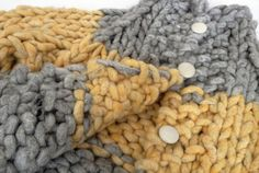 Another view - Giant Stitch Hand Knit Gray with Yellow Stripe cardigan sweater jacket coat - good for autumn - by AllThingsJoy