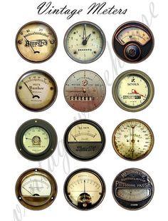 Vintage INDUSTRIAL METERS - steampunk dials,gauges and meters Digital Collage Sheet - craft circle download 1,1.5,2 in, 16mm: