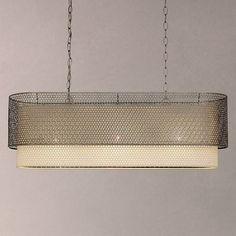 John Lewis Meena Brushed Steel Diner Ceiling Light, Steel