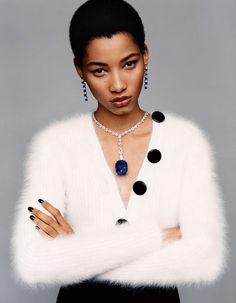 Chopard's incredible 160 carat cushion-cut sapphire is the centerpiece | Cous D'Éclat: Lineisy Montero by Alasdair McLellan for Vogue Paris June/July 2015 fine jewelry story #Chopard