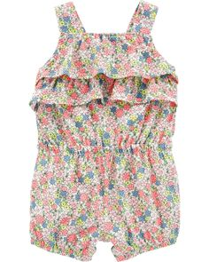 651ef67170744 Baby Girl Floral Ruffle Tank Romper | Carters.com Toddler Girl Outfits,  Romper Outfit