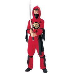 Halloween Concepts Child's Red Ninja Costume, Small.  $14.99            Red Ninja costume with black skull decoration. Hooded shirt, face scarf, waist sash, pants, arm and leg ties.