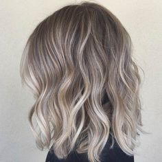 Long Blonde/Grey Ombre Bob Haircut (Lob Haircut) ♥ Model: Unknown ♥ @mgenest49