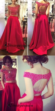 2016 long prom dresses, two-pieces prom dresses, red prom dresses