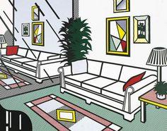 Reproduction de Roy Lichtenstein, Interior with mirrored wall (Intérieur avec mur en mirroir). Tableau peint à la main dans nos ateliers. Peinture à l'huile sur toile.