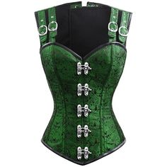 Green Gothic Corset ($125) ❤ liked on Polyvore featuring tops, corset, goth top, green top, goth corset, gothic corset and gothic tops
