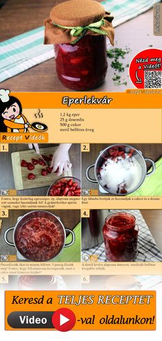 Erdbeermarmelade Heavenly strawberry jam you can easily cook yourself. The strawberry jam recipe video is easy to find using the QR code :] jam # Konfitü Supper Recipes, Jam Recipes, Drink Recipes, Dessert Drinks, Dessert Recipes, Strawberry Jam Recipe, B Recipe, Hungarian Recipes, Healthy Eating Tips