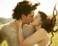 Kit Harrington (Jon Snow) and Emilia Clark (Daenerys Targaryen). Shippers are gonna love this newly released photo that was taken by EW back in 2012. Personally, I buy into R+L=J, so I don't ship them romantically, but I do hope they become allies. Beautiful picture, though. ASOIAF/GOT