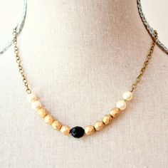 Gold Black And Pearl Strand Bead Necklace by NestPrettyThingsShop, $28.00