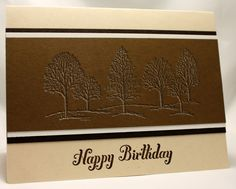 Stampin' Up! ... handmade card from See Julie Stamp - Julie Wadlinger ... monochromatic browns ... special stamping technique: etched look ... double stamped with top on off-set to make  shadow/snow look on lacy branches of trees from Lovely as a Tree ... beautiful example ...