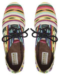 Osborn Multi Stripe Oxford Flat Shoes