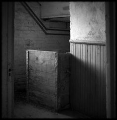 This is the bake room at Preston Castle.  The facility was a home for delinquent boys.  It is now shut down and considered haunted.  Behind this wooden crate a woman who worked at the Castle was killed by one of the boys and stuffed behind the wooden crate
