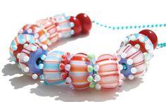 Handmade lampwork set - Pairs Color Block Striped Beads - Set of 14 - lampwork - handmade - colorful