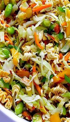 Asian Ramen Noodle Salad (a. Basically the Best Potluck Salad EVER) . Crunchy Asian Ramen Noodle Salad (a. Basically the Best Potluck Salad EVER) Crunchy Asian Ramen Noodle Salad (a. Basically the Best Potluck Salad EVER) Think Food, I Love Food, Good Food, Vegetarian Recipes, Cooking Recipes, Healthy Recipes, Vegetarian Salad, Cooking Pork, Cooking Salmon