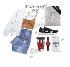 """""""STATEMENT BAGS2"""" by busses ❤ liked on Polyvore featuring Taya, NIKE, Skagen, Henri Bendel and Brewster Home Fashions"""