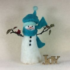 Windy Day Friends Snowman And Red Cardinal Needle Felt Wool Winter Decoration
