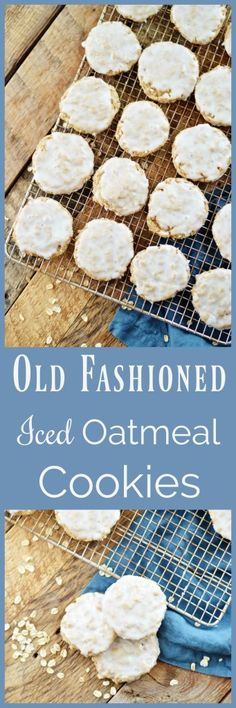 Old Fashioned Iced Oatmeal Cookies: A delicious cinnamon oatmeal cookie topped with a light iced frosting. -A Teaspoon of Home- Oatmeal Dessert, Oatmeal Cookies, Sunday School Snacks, Delicious Desserts, Dessert Recipes, Cinnamon Oatmeal, Cookie Jars, Cooking Recipes, Sweets