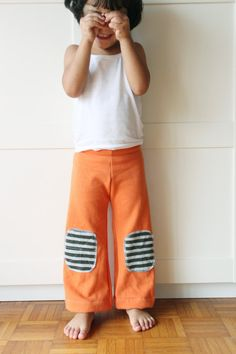 Pumpkin fun kids yoga pants easy wear. Wide leg, flat front. Natural cotton fabric. Sizes 3T, 4T, 5T. Made to order.