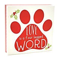 """Love Four Legged Paw Print Box Sign, 6"""" x 6"""""""