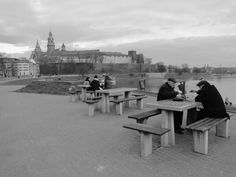 Cracow impressions. dawn people play chess. Cracow, Poland
