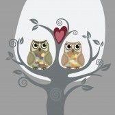 Deux chouettes et amour arbre