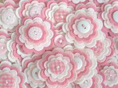 BABY GIRL - Set of 3 Handmade Felt Flower Embellishments in Pink and White via Etsy