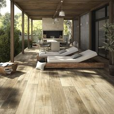 wood effect decking with built in sun lounger bed