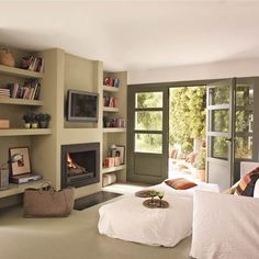 Small living room - for Mum, although won't be as wide. Open Space Living, Living Spaces, Small Living, Living Room Decor Fireplace, Design Case, Apartment Living, Home And Living, Ideal Home, Home Furniture