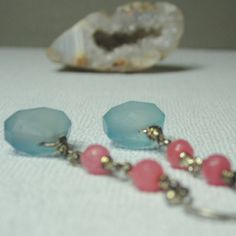 Blue Chalcedony and Pink Agate Earrings, Pastel Gemstone Earrings, Chalcedony Earrings