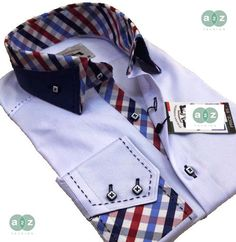 Brand New Men's Formal, Smart, White with Navy Blue Double Collar Casual Italian Design Slim Fit Shirt,  with Contrast White,  Navy Blue, Red, Grey and Baby Blue Checks - NEW DESIGN - S - 4XL