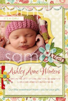 Baby Girl Birth Announcement Thank You by missbellaexpressions, $15.00