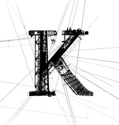 A very cool industrial experimental type face.  The crane look in the stem and ascender reflect an very mechanical font